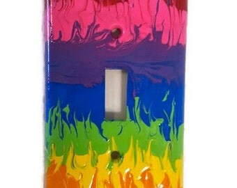 Rainbow light switch cover - single faceplate  - rainbow switchplate - colorful faceplate - Hand painted