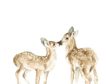 Deer Watercolor PRINT- Woodland Animal Painting - Baby Deer Painting - Baby Deer Watercolor - Fawn Painting - Baby Room - Baby - Home Decor