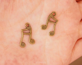 30 pcs 11x17mm antique bronze musical notes charms,notes pendants