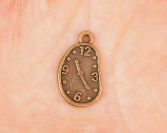 10 pcs 22x13mm Antique Bronze Clock Charms