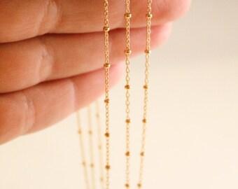 5 Feet - 14k Gold Filled Satellite Chain - 1.8mm Ball Width - Thin Chain - Delicate Chain - Wholesale Chain - Custom Length / GF-CH003