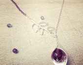 Collier Leaf of bell - Chaine argent, perles en verre et perles Swarovski