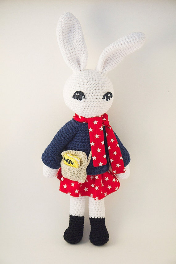 Amigurumi crochet doll Stylish bunny rabbit wearing navy