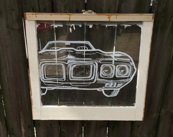 "Custom 1969 Pontiac Firebird on a Vintage Window 24"" x 22"""