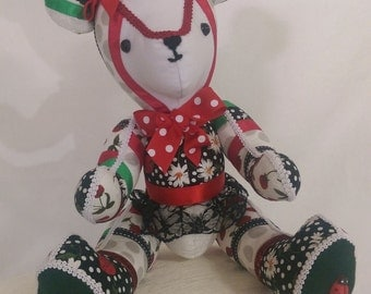 Strawberry Kisses - is a memory patchwork, collectable, ribbon and lace handcrafed custom made bear.