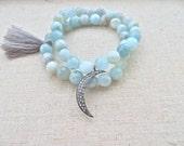 Aquamarine and Large Pave Diamond Moon Bracelets