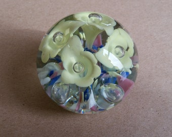 Paperweight - Four Yellow Flowers - With Blue, Pink, Yellow, and White Accents.