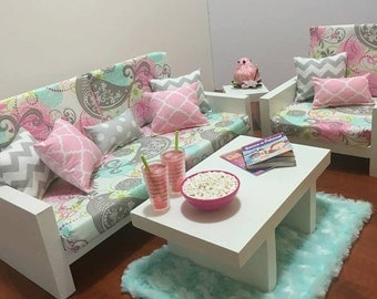 """American Girl Doll Furniture. 18"""" Doll Furniture. Living Room - Spring Bird Couch with Pink Pillows and Blue Rug"""