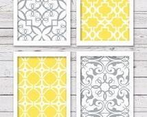 PRINTABLE Art, Printable Wall Art, Printable Art Set, Yellow and Gray Art,