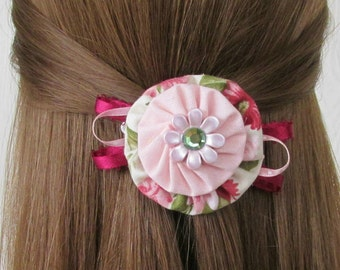 Pink Hair Clips, Pink Floral, YoYo Hair Clip, Pink & Green, Flowers, Ribbon Hair Accessories, Girls Hair Clips, eclectiKIDS