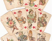 16 large deer Vintage playing cards spades clubs hearts palm craft ace king queen knave