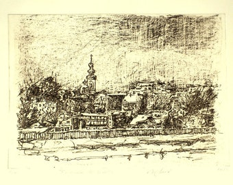 Belgrade in Winter. Fine art photo etching by Alison Savic. Limited edition. Hand pulled print