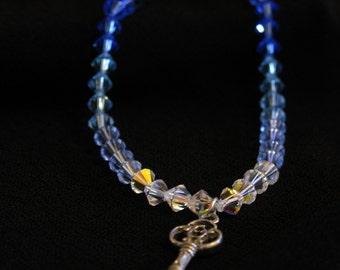 Swarovski bead bracelet with Key Charm