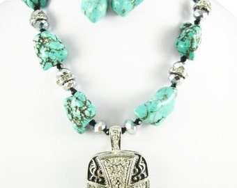 WESTERN CROSS PENDANT with Turquoise and Crystals Necklace Set