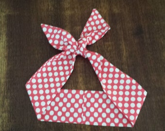 50s Vintage Rockabilly Inspired Head Scarf: Pink w/ White Polka Dots