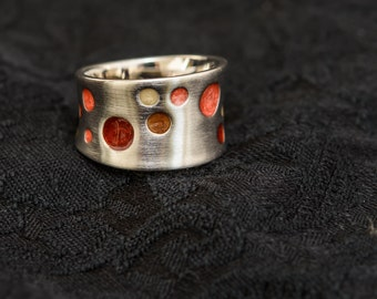 Three Colors Ring Gold or Palladium Plated Handmade by Jennifer Love
