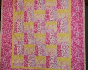 Pink and Yellow Fence Rail Baby Girl Quilt  SALE from 75.00