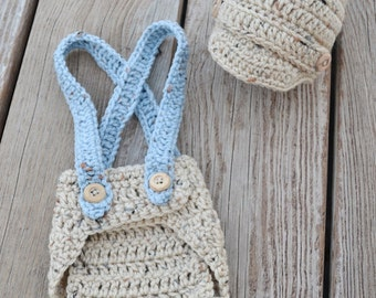 Crochet Newborn Newsboy Hat and Diaper Cover Set with Suspenders in Tan and Blue, Photo Prop, Baby Shower Gift Set