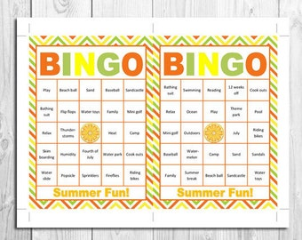 Bingo for summer fun! - Great summer activities for kids in summer parties! For 30 people to play!