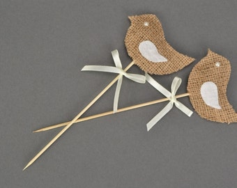 Rustic wedding Cake topper Love birds wedding cake topper Burlap birds topper Cake toppers for wedding Country wedding cake topper