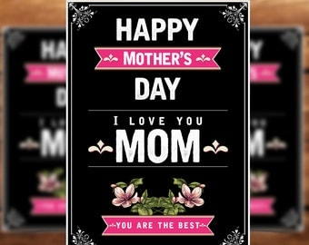 Mother's Day Card Template, Card Template, 5x7 Template