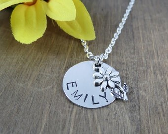Personalized Flower Necklace - Handstamped Flower Necklace - Girl Name Necklace