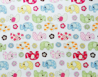 Elephant Print Fabric on White background. Dressmaking and Quilt Fabric , 100% Cotton -Fat Quarter