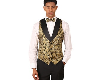Men's Gold Metallic tuxedo vest with black lapel