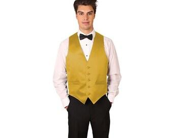 Men's antique gold satin dress vest
