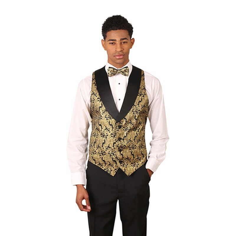 Men's Gold Metallic tuxedo vest with black lapel