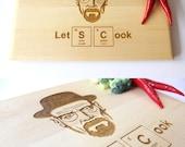 Heisenberg Cutting Board, Let's Cook, Breaking Bad Inspired, Walter White, Custom Engraved, Gift for him, Kitchen Decor