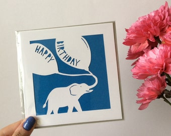 Elephant Happy Birthday Papercut Card