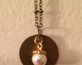 Brass and Pearl Necklace