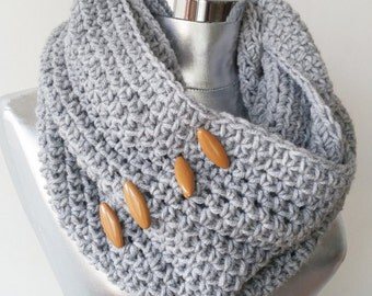 Grey Knit Infinity Scarf  Loop Scarf Circle Scarf Cowl Button Scarf