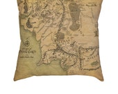 Middle Earth Map Pillow Cover- Lord of the Rings, Tolkin, The Hobbit, Shire, Mordor, Gandalf, Elf, Fantasy, Two Towers, Movies Cool Gift!