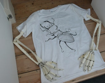Bug tshirt designed and hand printed in England