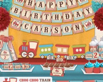 Vintage Choo Choo Train Birthday Party Printable Party Decorations Supplies - Mini  Set Party Kit PK-13