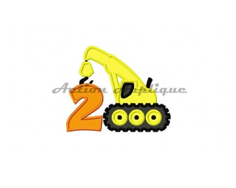 Construction Crane Birthday Number 2 Machine Applique Embroidery Design Fits Hoops 5x7 6x10 Instant Download