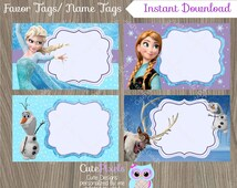 Frozen Favor Tags, Frozen Name Tags, Frozen Favor Labels, Frozen Birthday, Disney Frozen, Frozen Party
