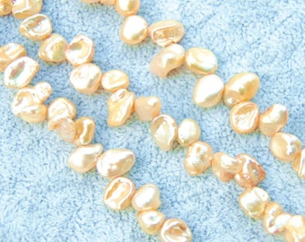 7-8 mm Yellow Champagne Keishi Keshi Freshwater Pearls Beads bridal for jewellery making one strand 38 cm app70  pearls 7-8mm, 7-10mm length