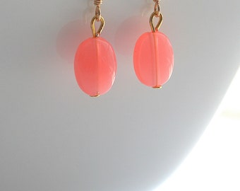 Coral, gold, pink coral, dangle, earrings - CORAL