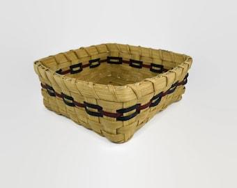 Napkin Holder Basket - Handwoven - Square - Burgundy & Navy Blue