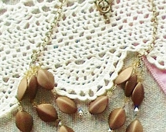 Brown Jewelry   Necklace Brown Amber Waves of Grain Three Strand Necklace