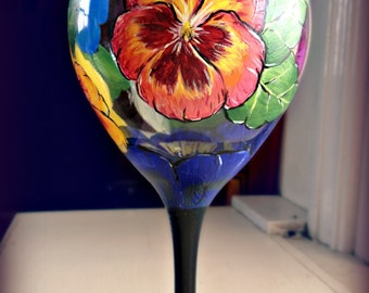 Hand painted pansy wine glasses