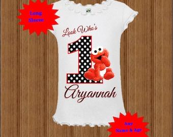 Elmo Girls Birthday Shirt -  Baby Elmo Birthday Shirt