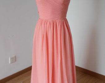 Sweetheart Light Watermelon Chiffon Long Bridesmaid Dress