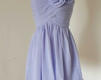 Sweetheart Lavender Chiffon Short Bridesmaid Dress