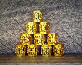 15 Dreadlock Beads | Filigree Gold Toned Metal, Adjustable Cuff, 8mm Hole Size