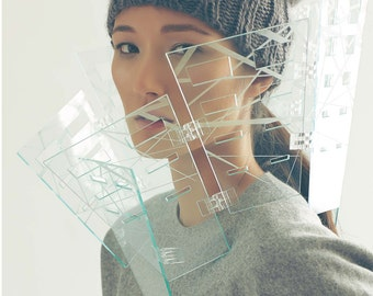 Sculptural Laser Cut Acrylic Shoulder Piece, Contemporary Handmade Jewelry by MENGXUAN LIU