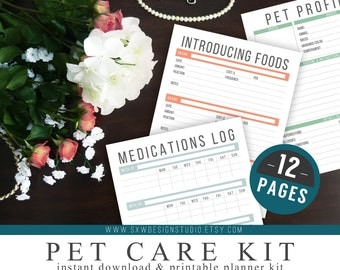 Pet Care Kit - Instant Download - Printable DIY - 12 Page Kit - Household Management - Puppies, dogs, cats, pets - Vet, Vaccinations, Food